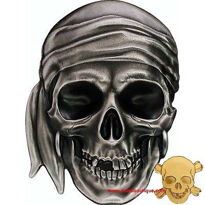 PIRATE SKULL set 1oz Silver Coin and  .9999 Gold Coin Palau 2017