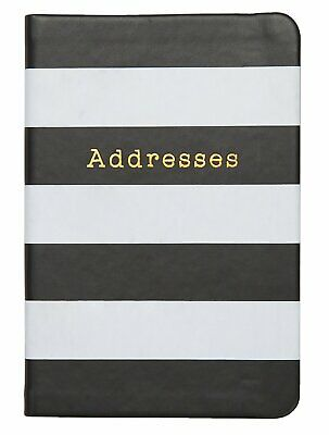 C.R. Gibson Small Address Book, Leatherette Cover, Black & White Stripes