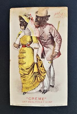 1882 antique LARKIN SOAP anthropomorphic MONKEY SOUTHERN BELLE humanized ad