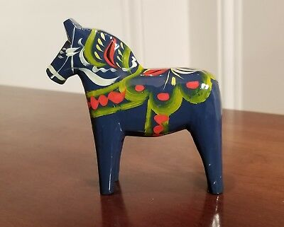 "Vtg 4"" Swedish By Grannas Olssons Dala Horse Blue Green Hand-Carved & Painted"