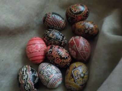 10 Brightly Decorated Hand Painted Traditional Wooden Ukrainian Eggs