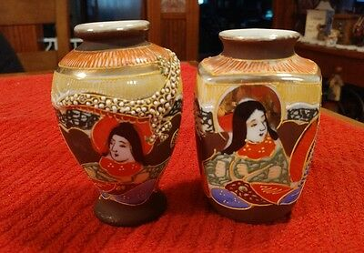 Pair Of Antique Made in Japan Small Porcelain Hand Painted Vases