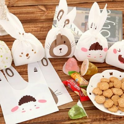 50pcs Self-adhesive Plastic Bags Biscuits Baking Package Rabbit Ear Cookie Bags