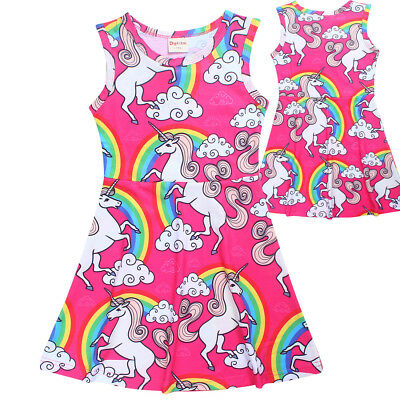 USA STOCK Kids Girls Cartoon Unicorn Horse Animal Holiday Party Birthday Dress