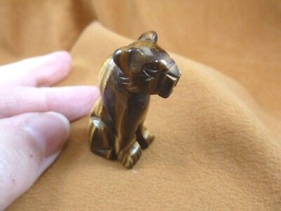 (Y-CHE-567) Tiger's eye CHEETAH wild cat gemstone GEM carving BIG CATS statue