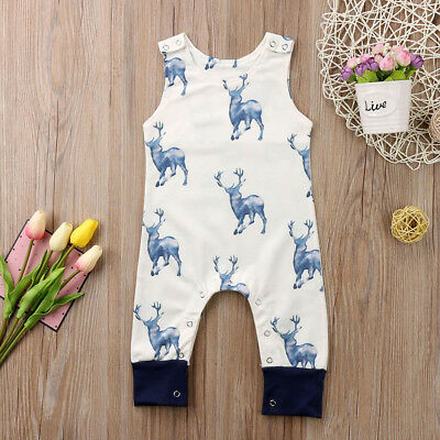 AU Stock Newborn Baby Boys Girls Deer Bodysuit Romper Jumpsuit Outfits Clothes