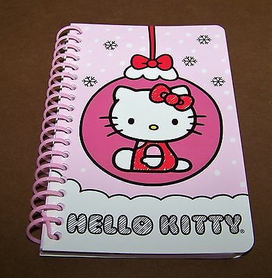 """Hello Kitty Spiral Notebook Christmas Holiday Pink 2014 Sanrio 5.5"""" Note Pad"""