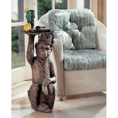 African Monkey Barbary Macaque Unique Furniture Pedestal Side Table Decor Art