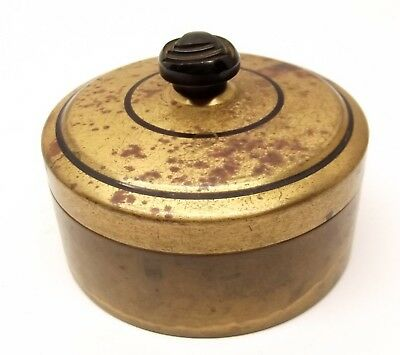 Vtg Brass Vanity Powder Box Bakelite Handle Receptacle Push Down Bronze Art Deco