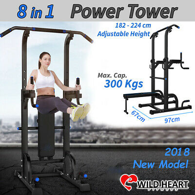 8in1 Multi Station Power Tower Chin Up Knee Raise Exercise Push Pull Dip Fitness