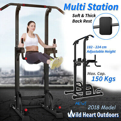 Fitness Knee Raise Power Tower Chin Up Push Pull Dip Station Exercise Home Gym