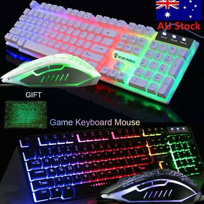 T6 Rainbow Backlight Usb Ergonomic Gaming Keyboard and Mouse Set for PC Laptop