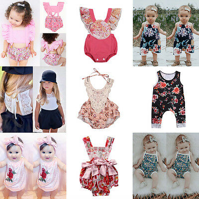US Newborn Infant Kids Baby Girl Floral Romper Bodysuit Jumpsuit Clothes Outfits