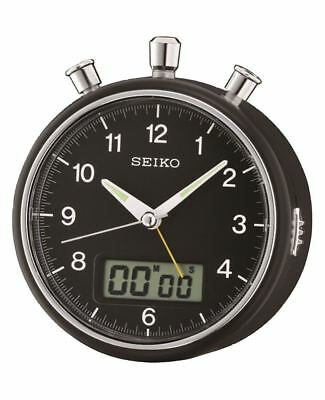Seiko Black Bedside Alarm Clock with LCD Display / Stopwatch and Countdown Timer