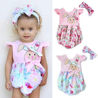 Easter Floral Newborn Baby Girl Bunny Romper Jumpsuit Outfits Summer Clothes USA