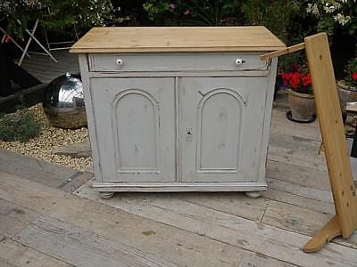 Wow! Old Victorian Antique Pine Painted Dresser Base/sideboard/cupboard/cabinet