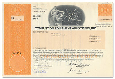 Combustion Equipment Associates, Inc. Stock Certificate (Carter Day)