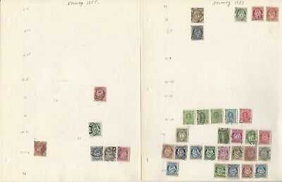 Norway Collection of Stamps & Postcards on 35 Pages, 1855 to 1989