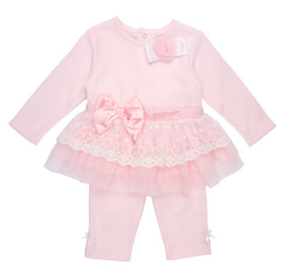 Mintini Baby Girls Spanish Style Romany Lace & Bow Top & Leggings Outfit SS'18