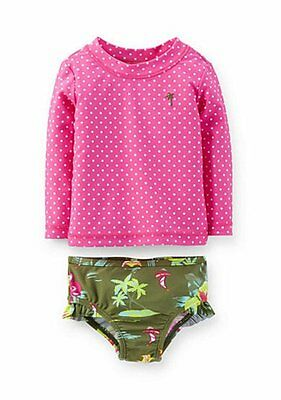 CARTER'S® Baby 18M, 24M Tropical Polka Dot 2 Pc. Rashguard Swim Set NWT