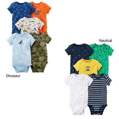 Carter's Baby Boy 5pack Bodysuits Summer Clothes 3 6 9 12 18 24 Month New Dino