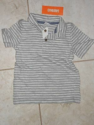 "NWT - Gymboree ""Island Hopper"" short sleeved grey & white polo shirt - 6-12 mos"