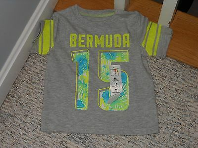 "NWT - Jumping Beans short sleeved grey ""Bermuda"" shirt - 18 mos boys"