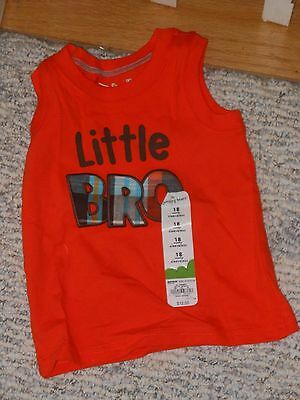 "NWT - Jumping Beans orange & brown sleeveless ""Little Bro"" shirt - 18 mos boys"