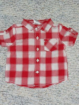 "NWT - Gymboree ""First Play Date"" short sleeved red & ivory plaid shirt - 0-3 mos"