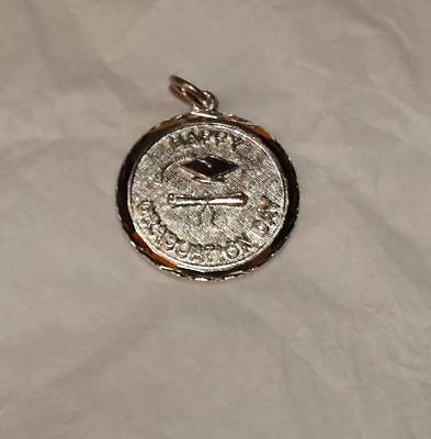 Vintage HAPPY GRADUATION on Disc Diploma & Cap Sterling Silver Charm #22H