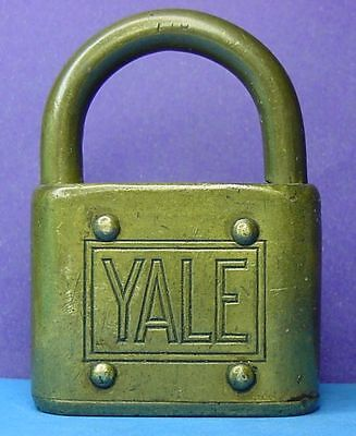 Vintage  YALE  All Brass Padlock  --  No Key