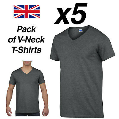 Mens DARK HEATHER V-NECK T SHIRT 5 Pack Gildan Cotton Man Top New Plain Cheap