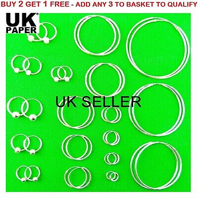 925 Sterling Silver Hoop Earrings Small Large Sleepers Stud Ring Nose Solid Ball