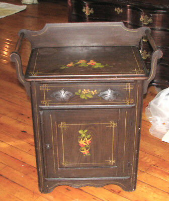 Antique Late 19th Century Painted Cottage Pine Commode