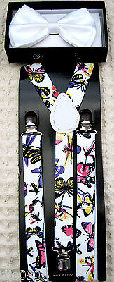 White Tuxedo Adjustable Bow Tie+Colorful Butterflies Bees  Suspenders Combo