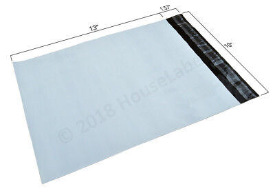 1-2000 10X13 Poly Mailers Bags 2.35 mil thick White Shipping Envelopes