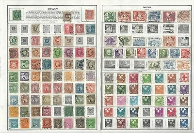 Sweden Collection 1858 to 1992 on 40 Harris Pages, Loaded With Stamps