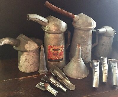 Old Vtg Antique Galvanized Metal Oil Can Funnel Pour Spout Huffman J-Mark Lot