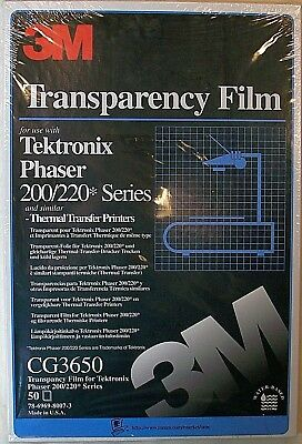 50 pack 3M Clear Transparency Film Tektronix Phaser 200/220 A4 210 x 322 mm New