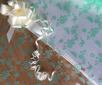 1 Metre X 80cm Blossom/Bird Mint Cellophane.Pull Bow,Ribbon,tag Astic Group
