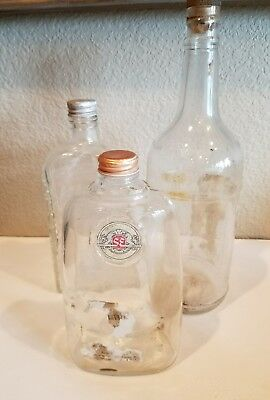 Vintage OLD Clear Glass Whisky Bottles With Lids  Lot of 3