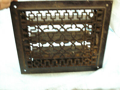 "antique cast iron heat register grate, for a  12"" x 10"" cut-out, 4"" deep opened"