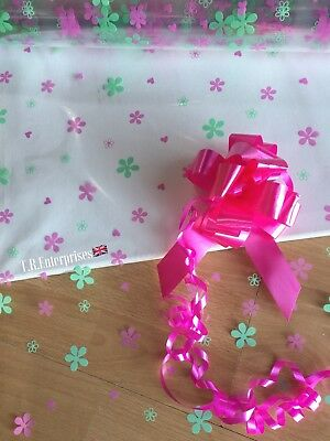 1 Metre X 80cm Pink/green Penelope cellophane wrap/30mm Pull Bow Astic Group