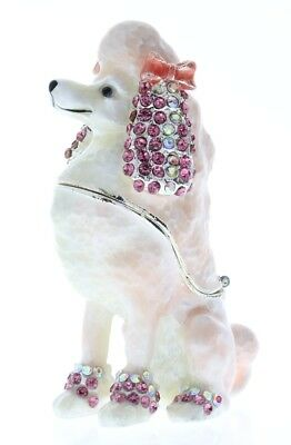 Jeweled Pink Poodle Puppy Dog Ciel Collectible Bling Hinged Trinket Box