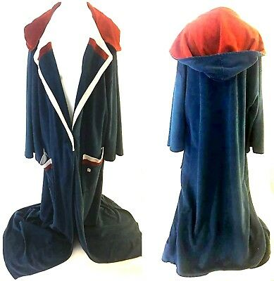 Vintage PIERRE CARDIN Dramatic 70s Burgundy Robe Cloak with Hood ONE SIZE