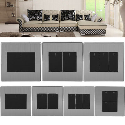 1/2/3/4Gang 1/2Way 250V Modern Electrical Push Button Wall Light Switch Panel HG