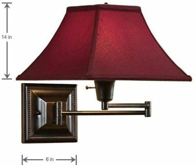 1 Light Bronze Red Fabric Shade Swing Arm Pin Up Wall Mount Bedside