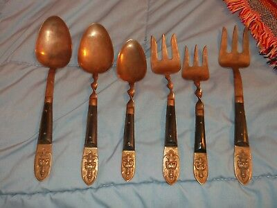 vintage serving silverware from Siam Brass Bronze or copper 6 pieces total
