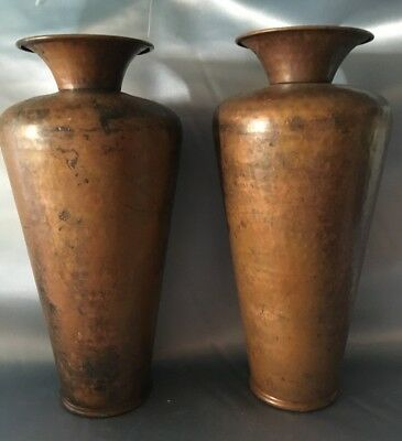 Pair Of Matching Vintage Hammered Copper Vases With Flared Top