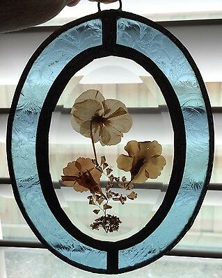 "Framed Beveled Pressed Flower Stained Glass Hanging Picture Sun-catcher 6""X8"""